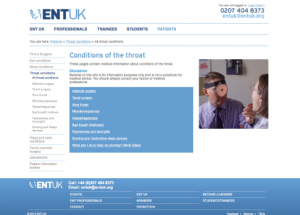 ENT UK Throat Conditions website link